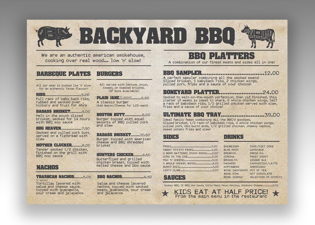 Backyard BBQ Menu back