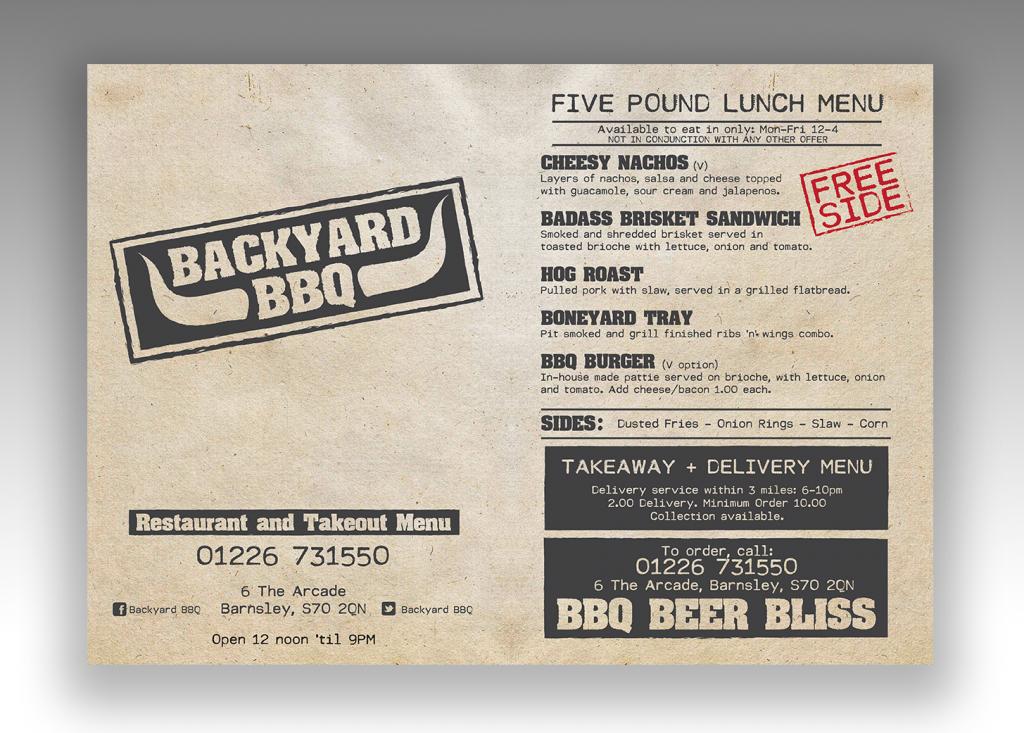 Backyard BBQ Menu front